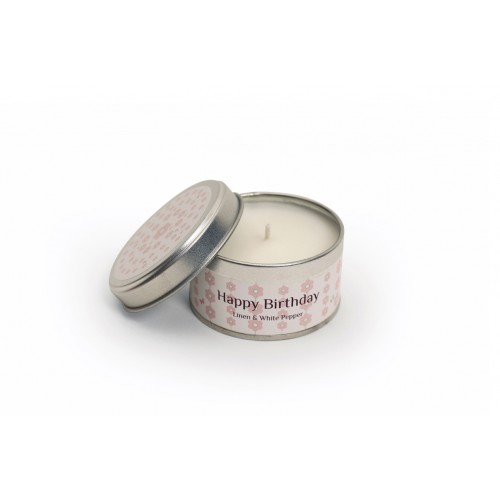 Linen & White Pepper Candle - Happy Birthday