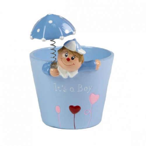 It's a Boy Keepsake Pot with Umbrella