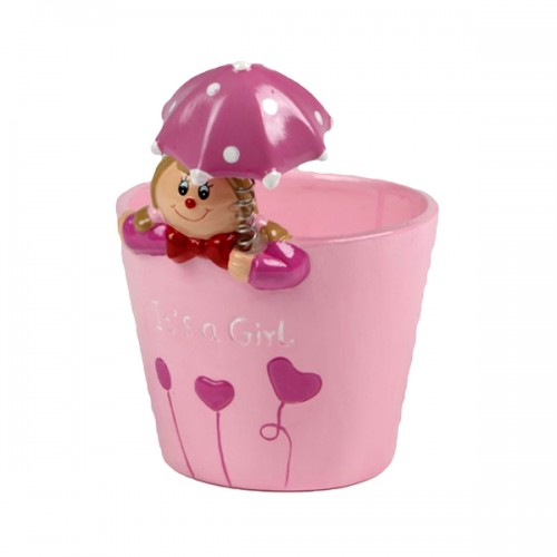 It's a Girl Keepsake Pot with Umbrella