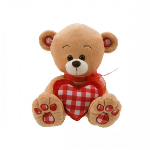 Bonny Sitting Bear with Gingham Love Heart
